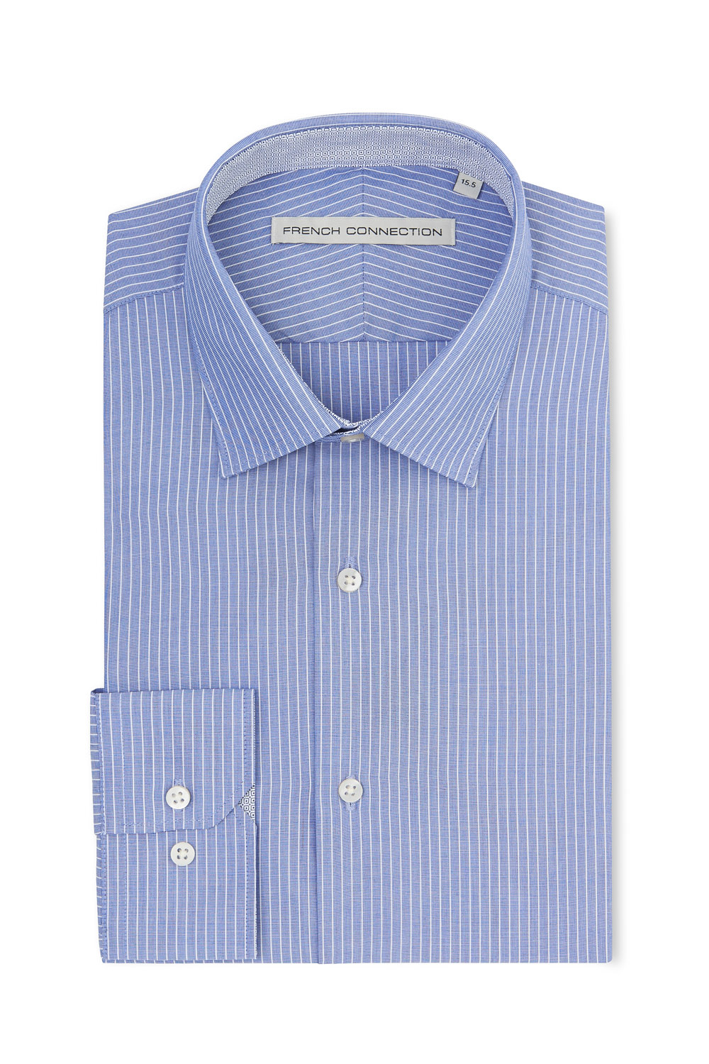 French connection slim fit blue and white single cuff White french cuff shirt slim fit