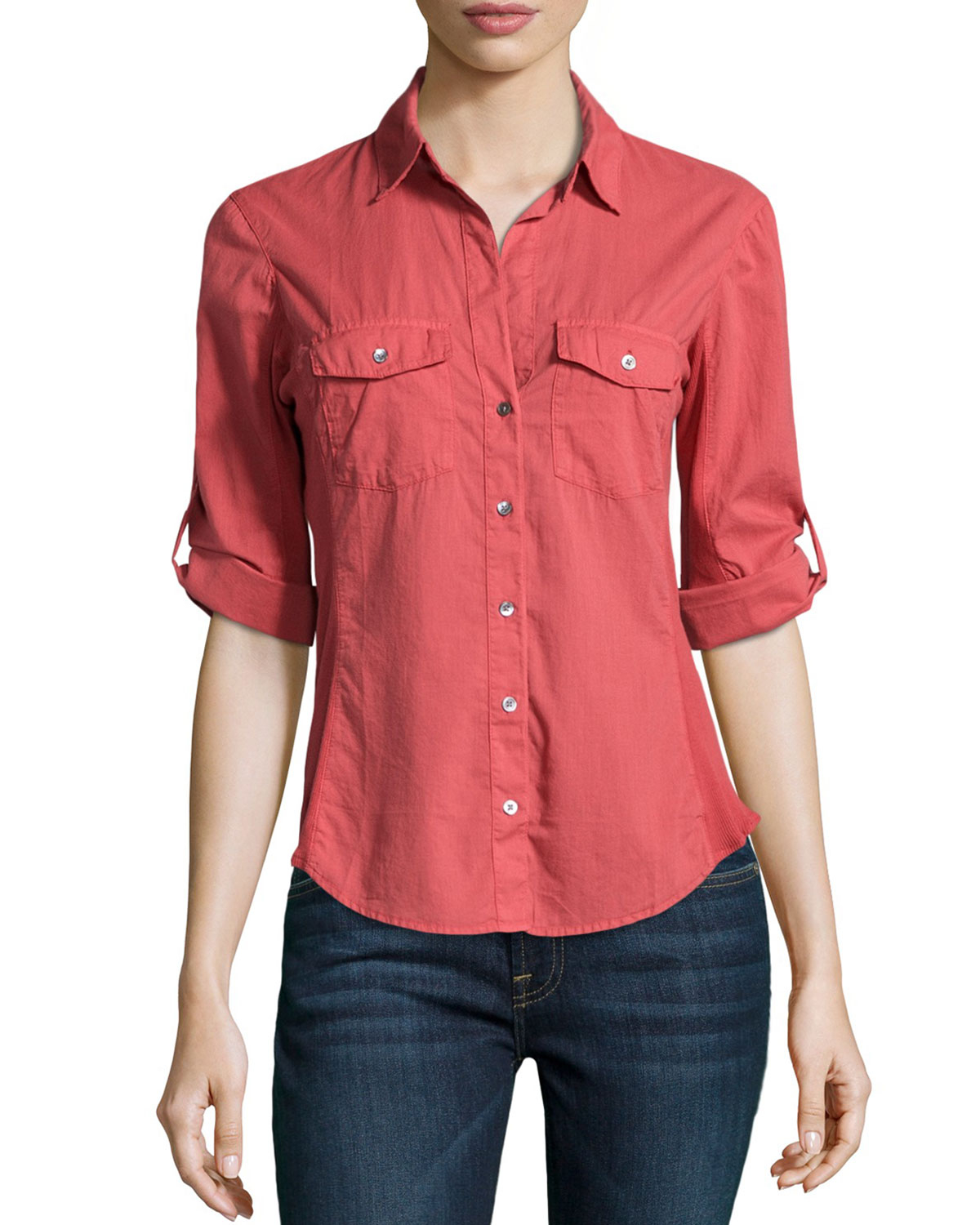 james perse cotton contrast panel shirt in red faded red