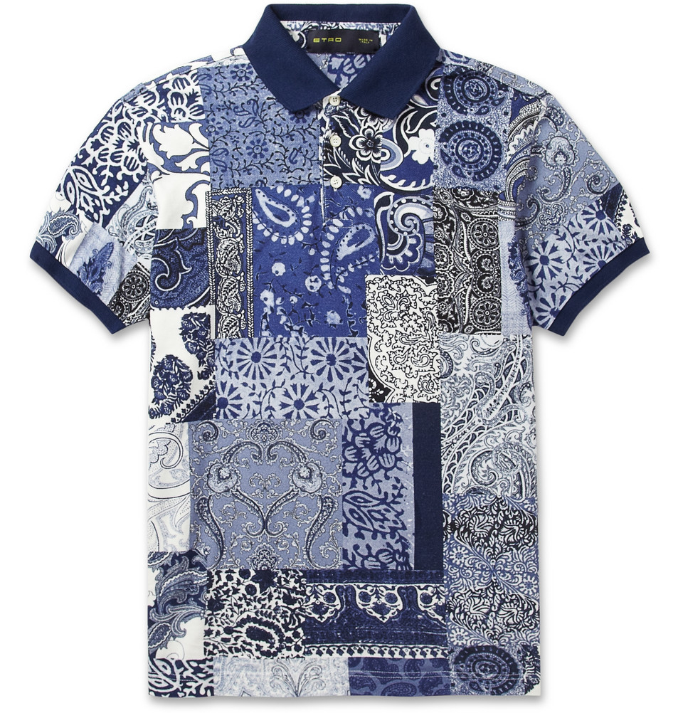 Lyst etro paisley print cotton pique polo shirt in blue for Polo shirts for printing