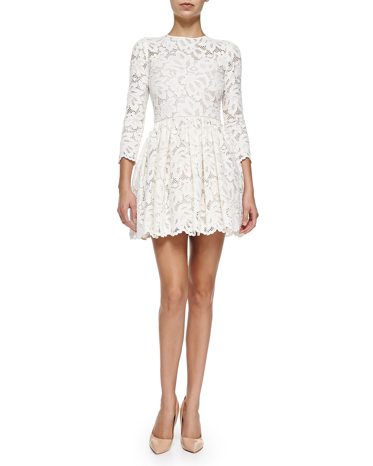 Alexis Vincent Long-Sleeve Pleated Lace Dress in White ...