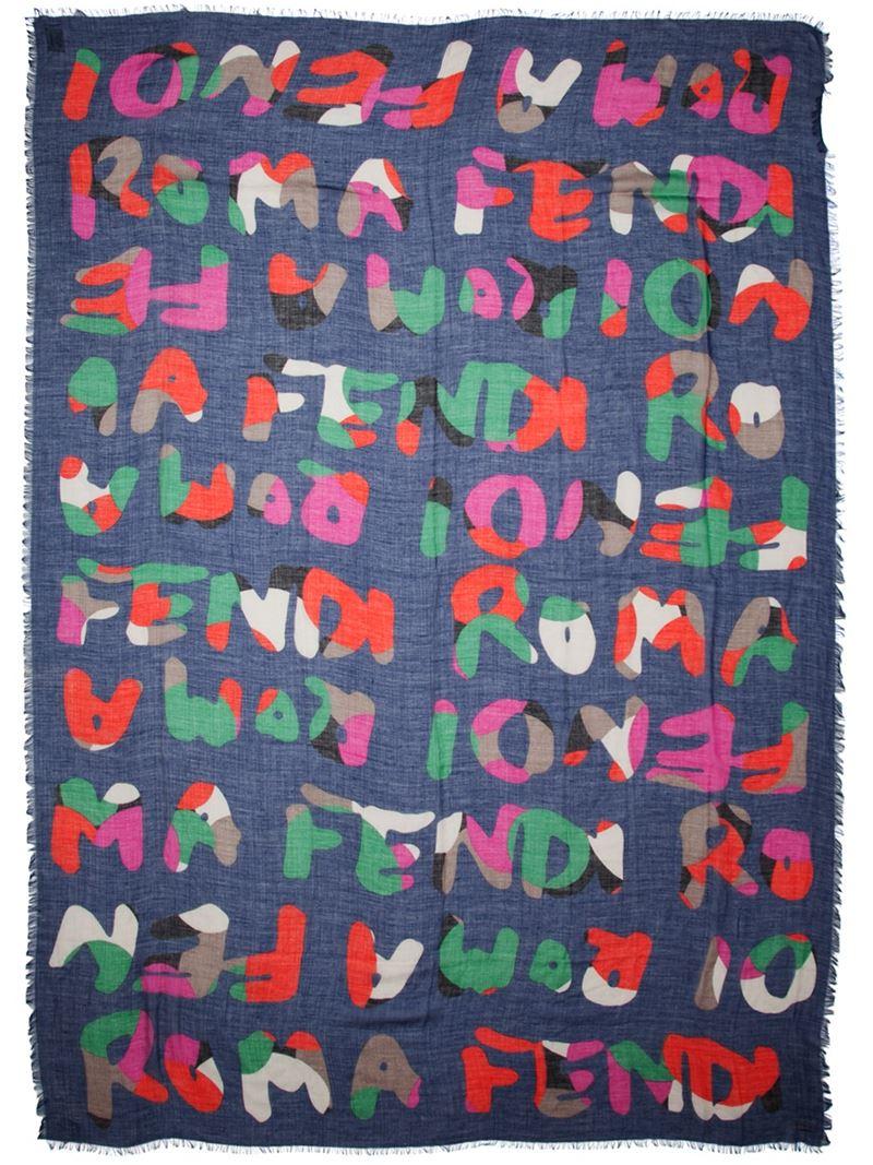 Lyst - Fendi Roma Print Scarf in Blue