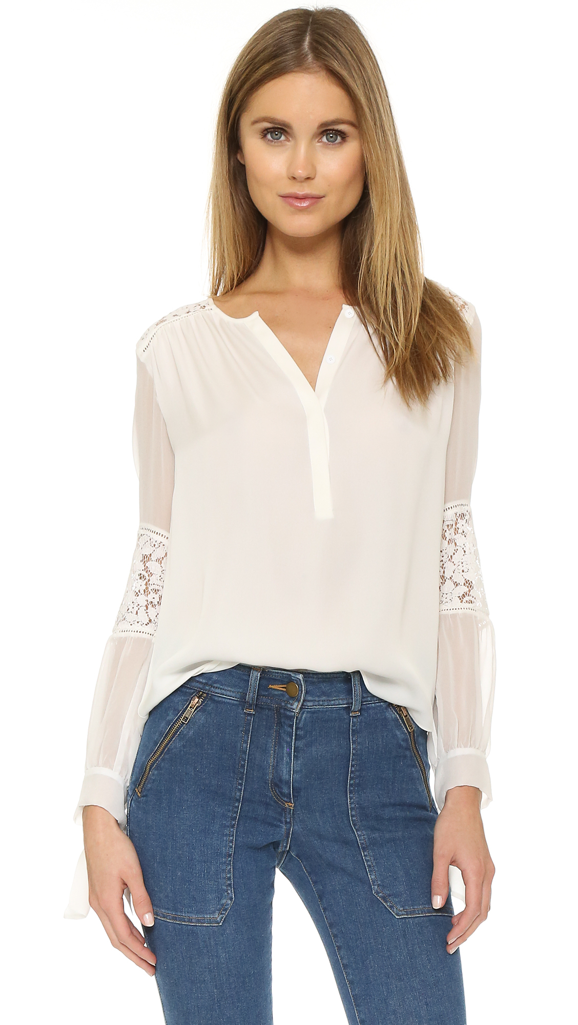 d1d0c87fd9d27f Lyst - Rebecca Taylor Silk   Lace Blouse in White