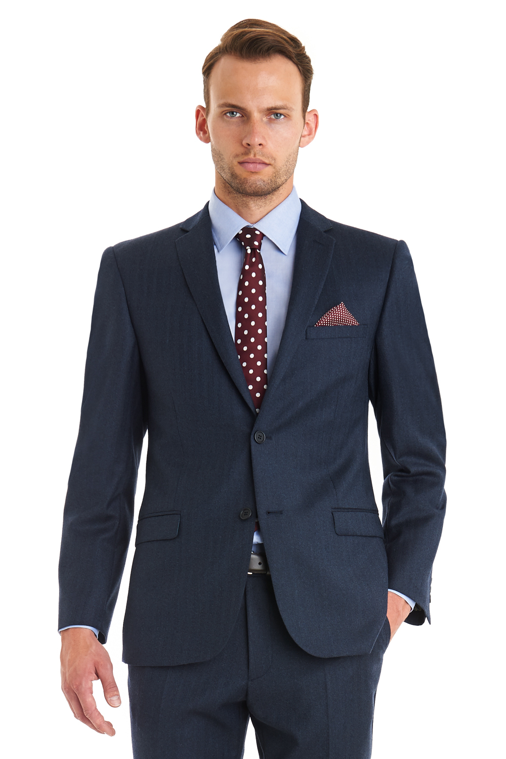 Ted Baker Tailored Fit Navy Herringbone Suit In Blue For