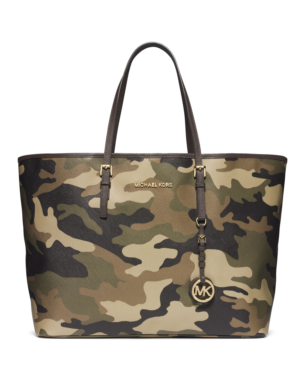 51b4b29ad026 Michael Kors Michael Medium Jet Set Camo Travel Tote in Green - Lyst