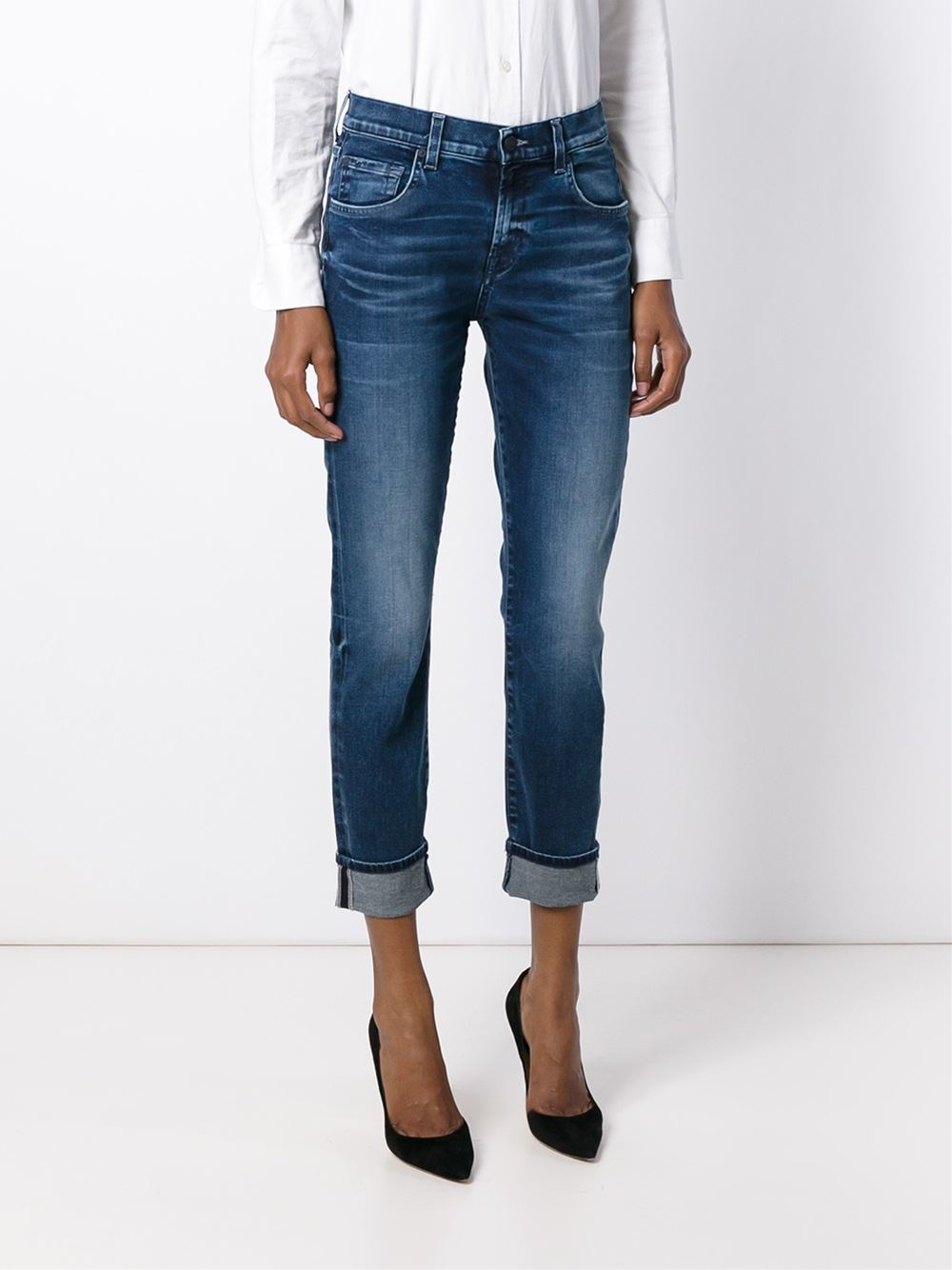for all mankind cropped skinny jeans in blue lyst. Black Bedroom Furniture Sets. Home Design Ideas