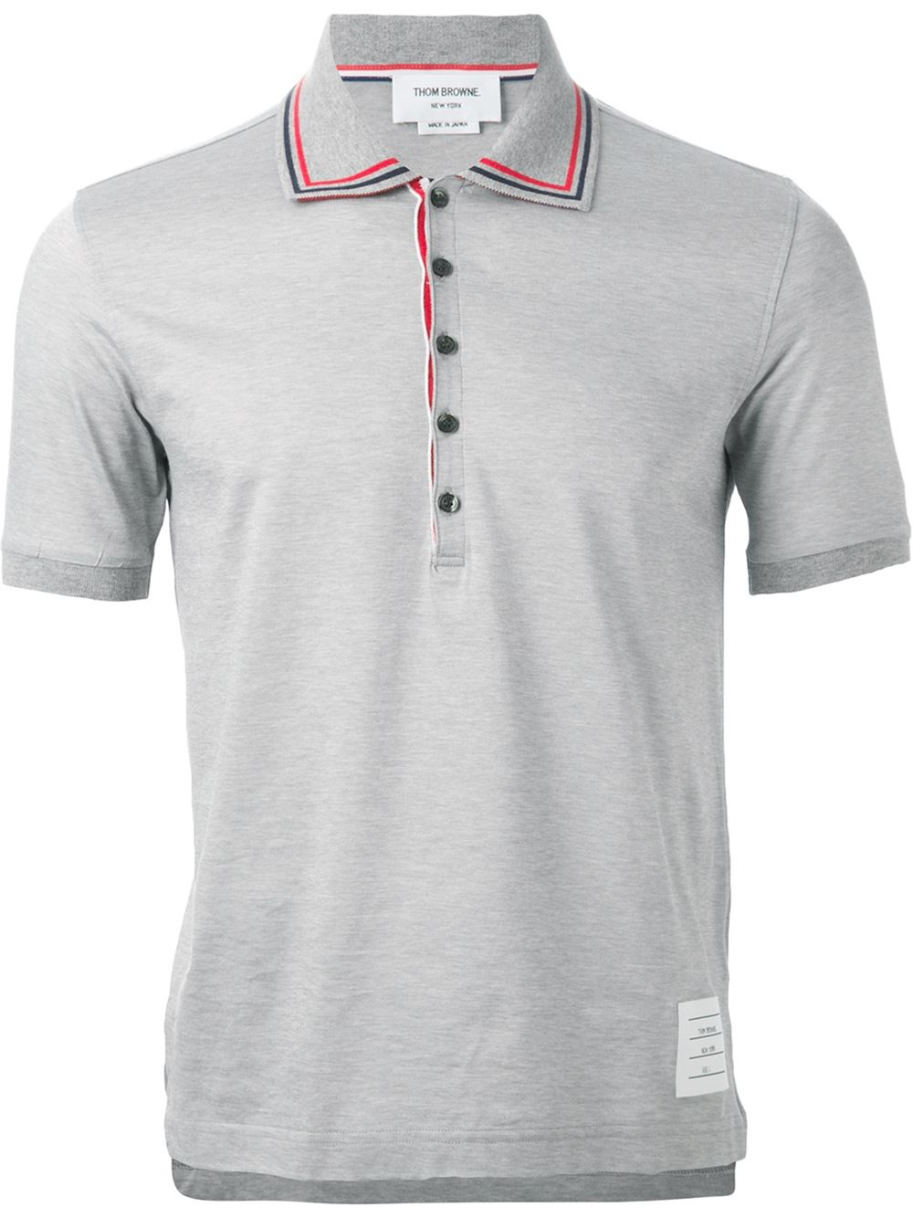 Lyst thom browne polo shirt in gray for men for Thom browne t shirt