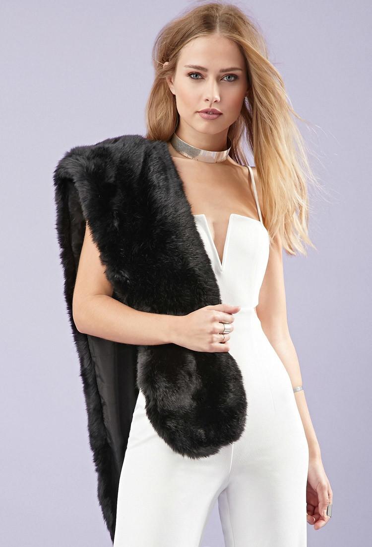 Lyst Forever 21 Longline Faux Fur Stole In Black