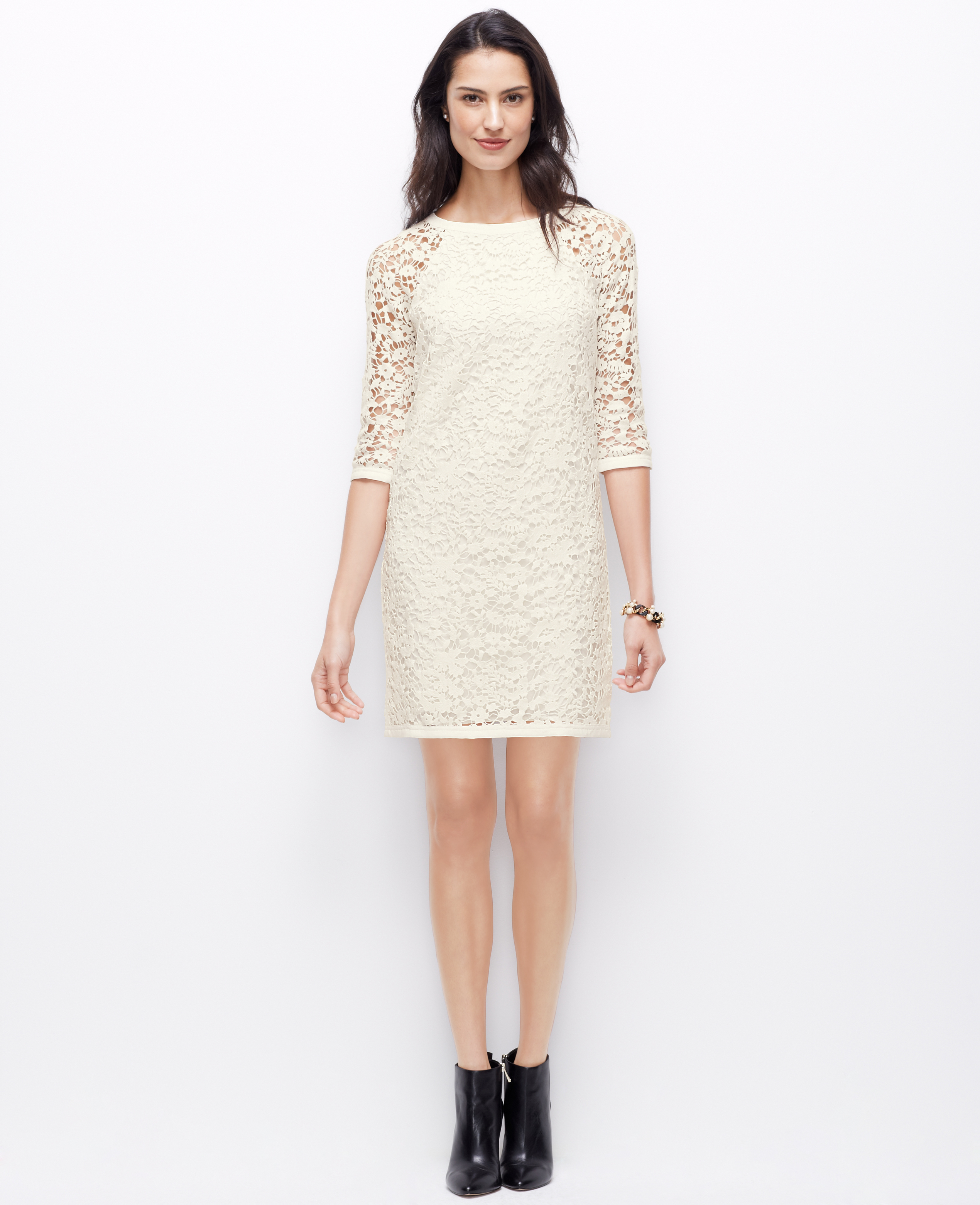 Ann taylor Petite Lace Shift Dress in White | Lyst