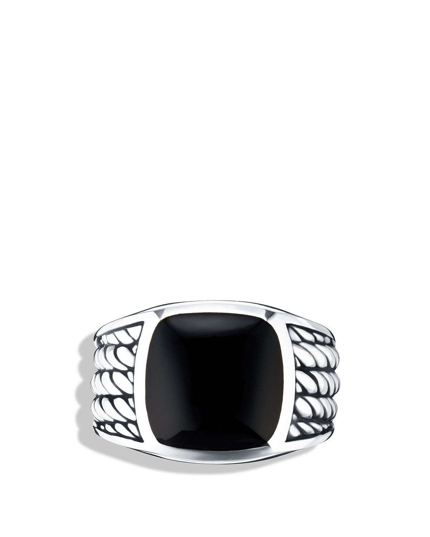 David Yurman Maritime Rope Signet Ring With Black Onyx In