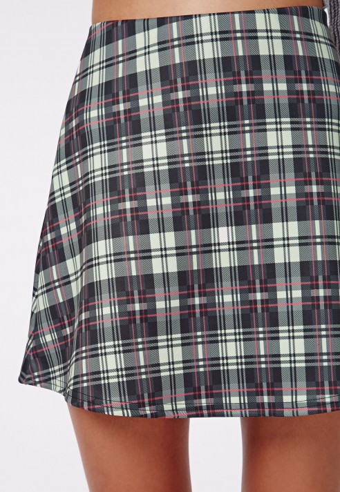 missguided grace tartan print a line skirt white in white