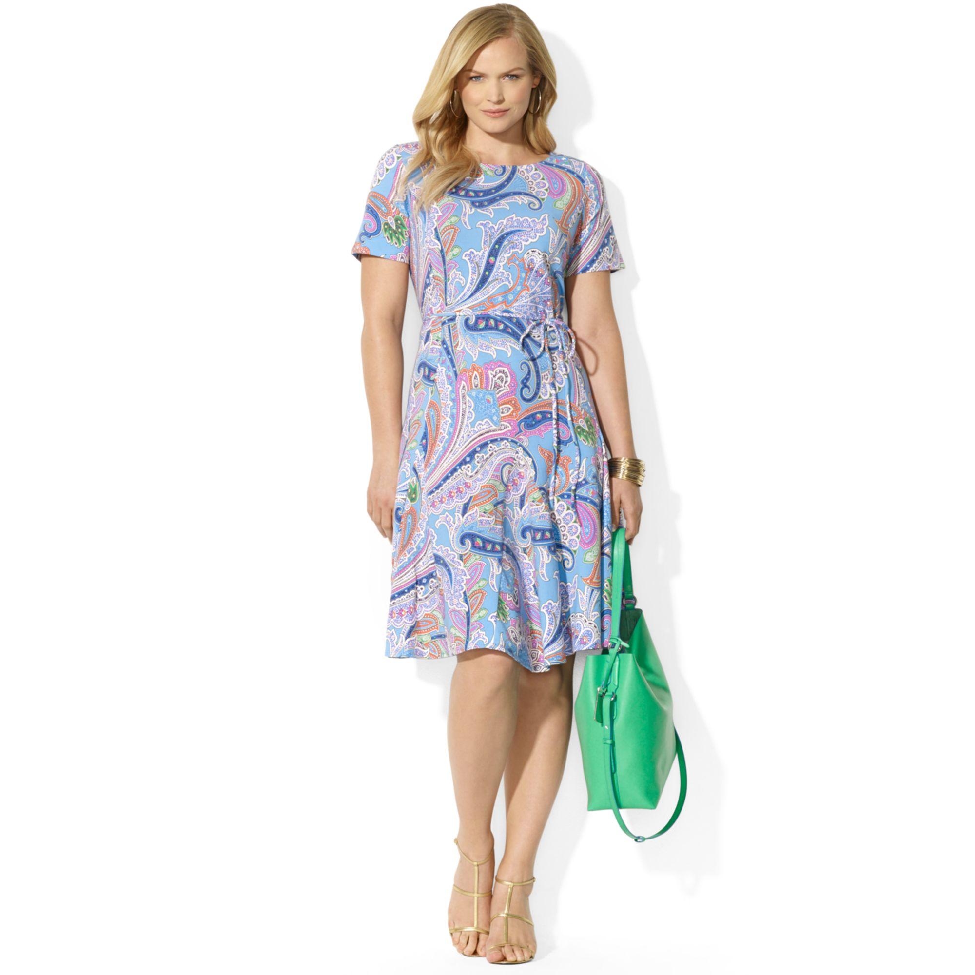 Lyst Lauren By Ralph Lauren Plus Size Short Sleeve Paisley Print A
