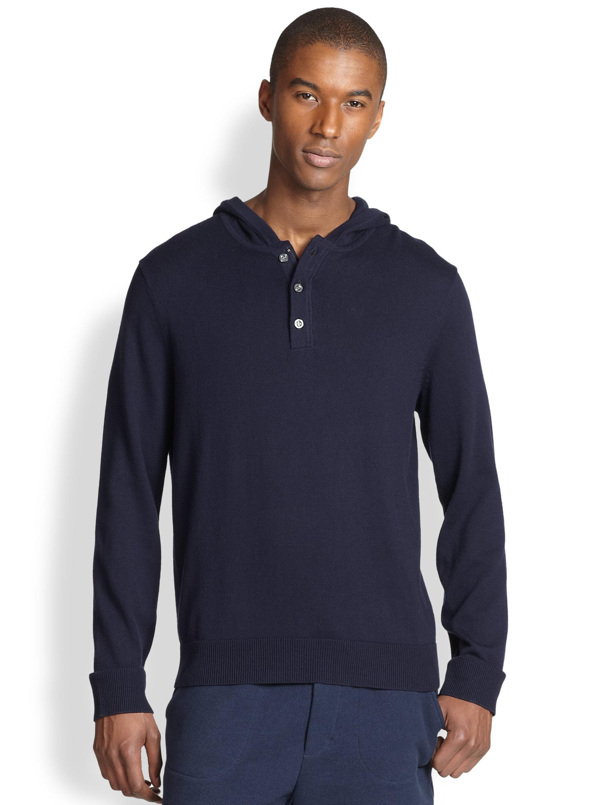 Vince Hooded Henley Sweater in Blue for Men | Lyst