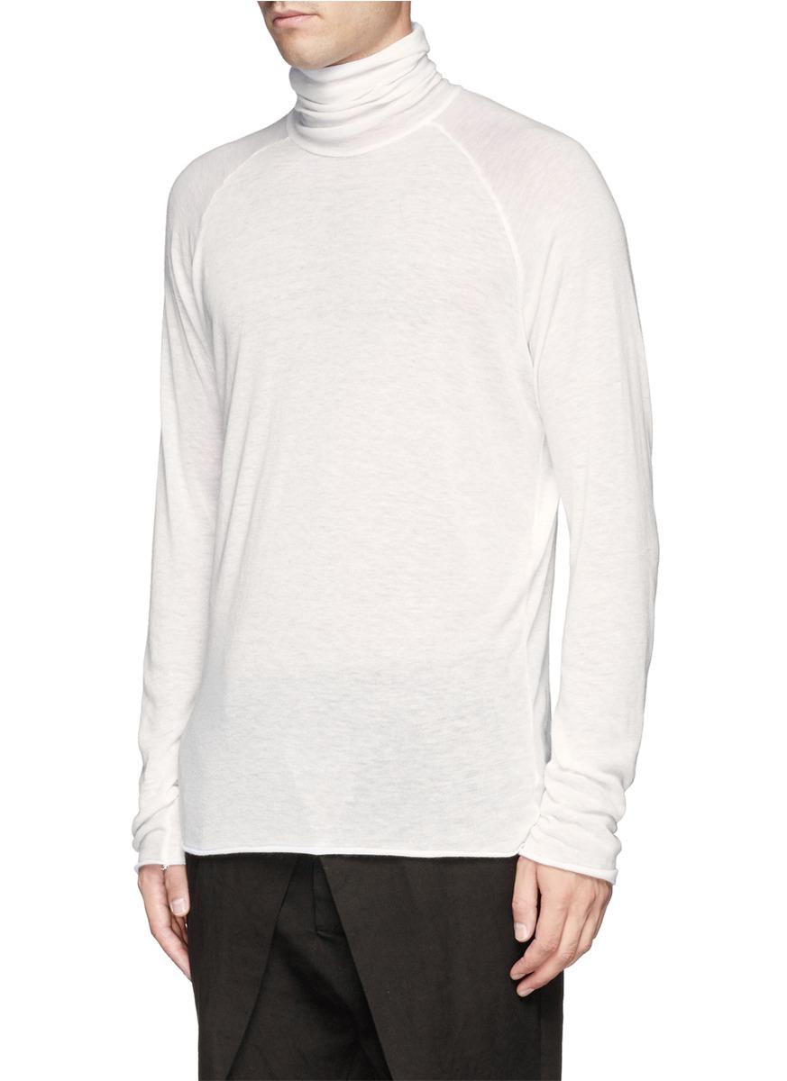 haider ackermann sheer roll neck sweater in white for men. Black Bedroom Furniture Sets. Home Design Ideas