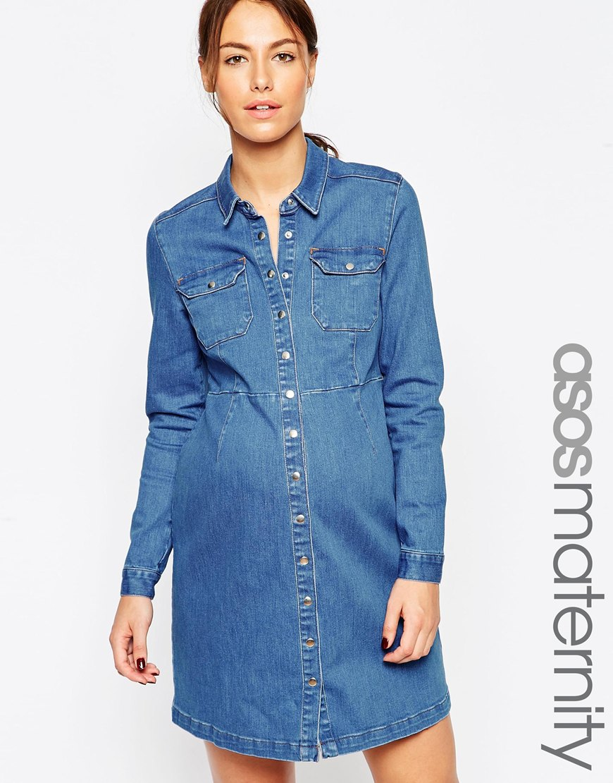 Asos maternity denim a line dress in blue in blue lyst gallery ombrellifo Choice Image