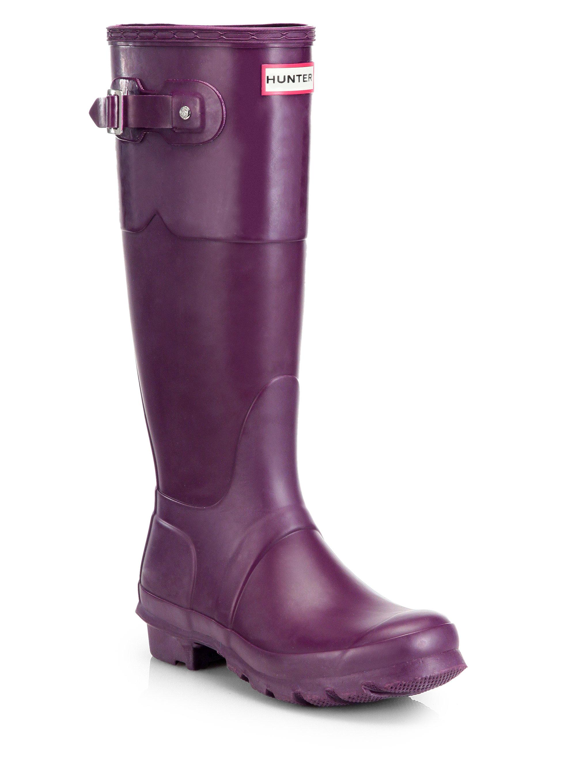 hunter original rubber rain boots in purple bright plum lyst. Black Bedroom Furniture Sets. Home Design Ideas