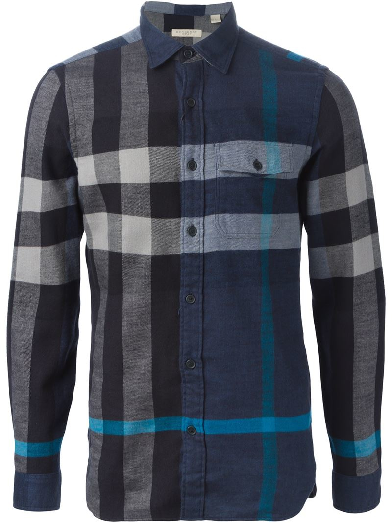 Lyst burberry brit plaid shirt in blue for men for Burberry brit checked shirt