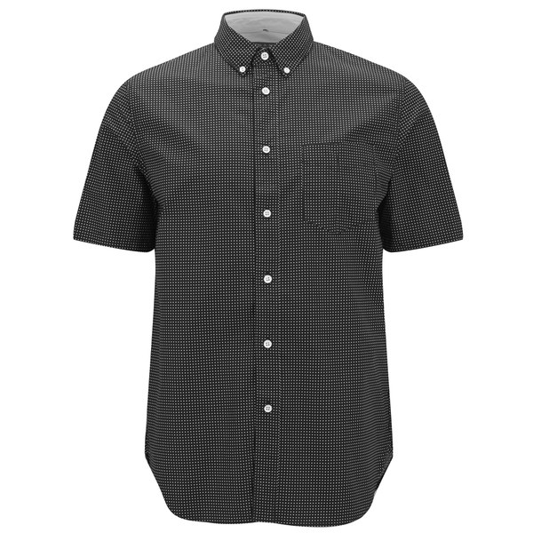 Rag bone men 39 s short sleeve button down shirt in black for Mens black short sleeve dress shirt