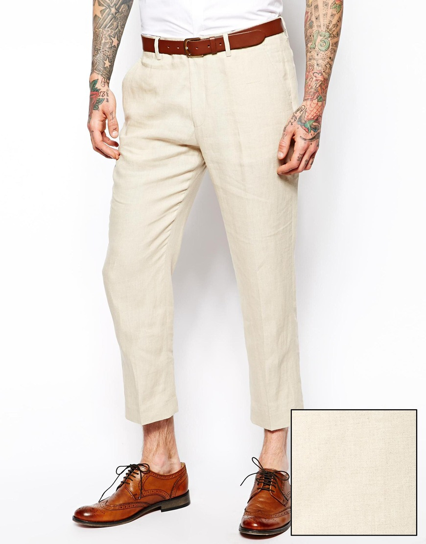 Asos Slim Fit Smart Pants in Linen in Natural for Men | Lyst