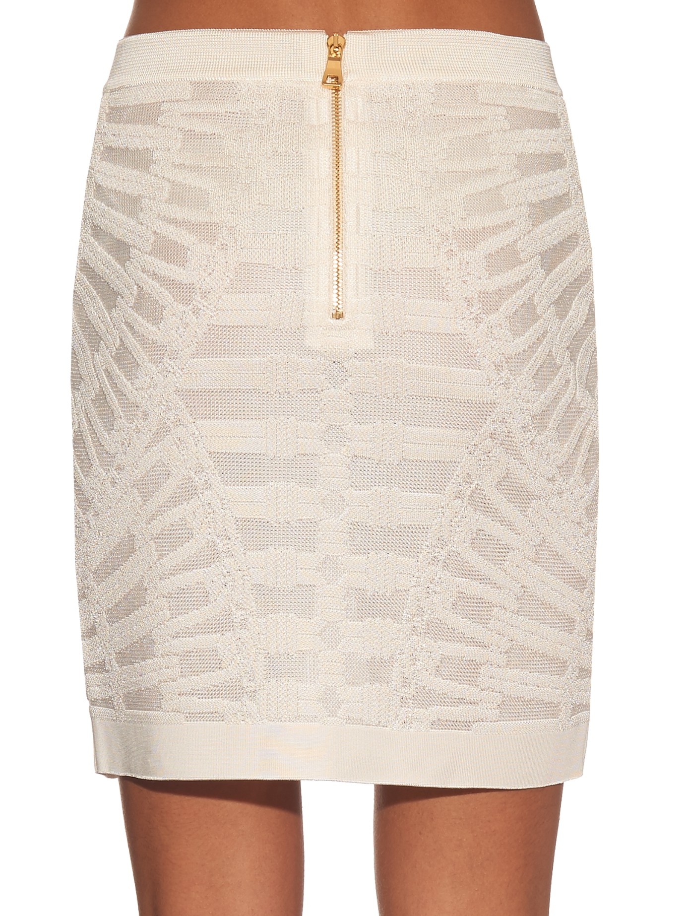 Balmain Spine Intarsia-knit Mini Skirt in White | Lyst