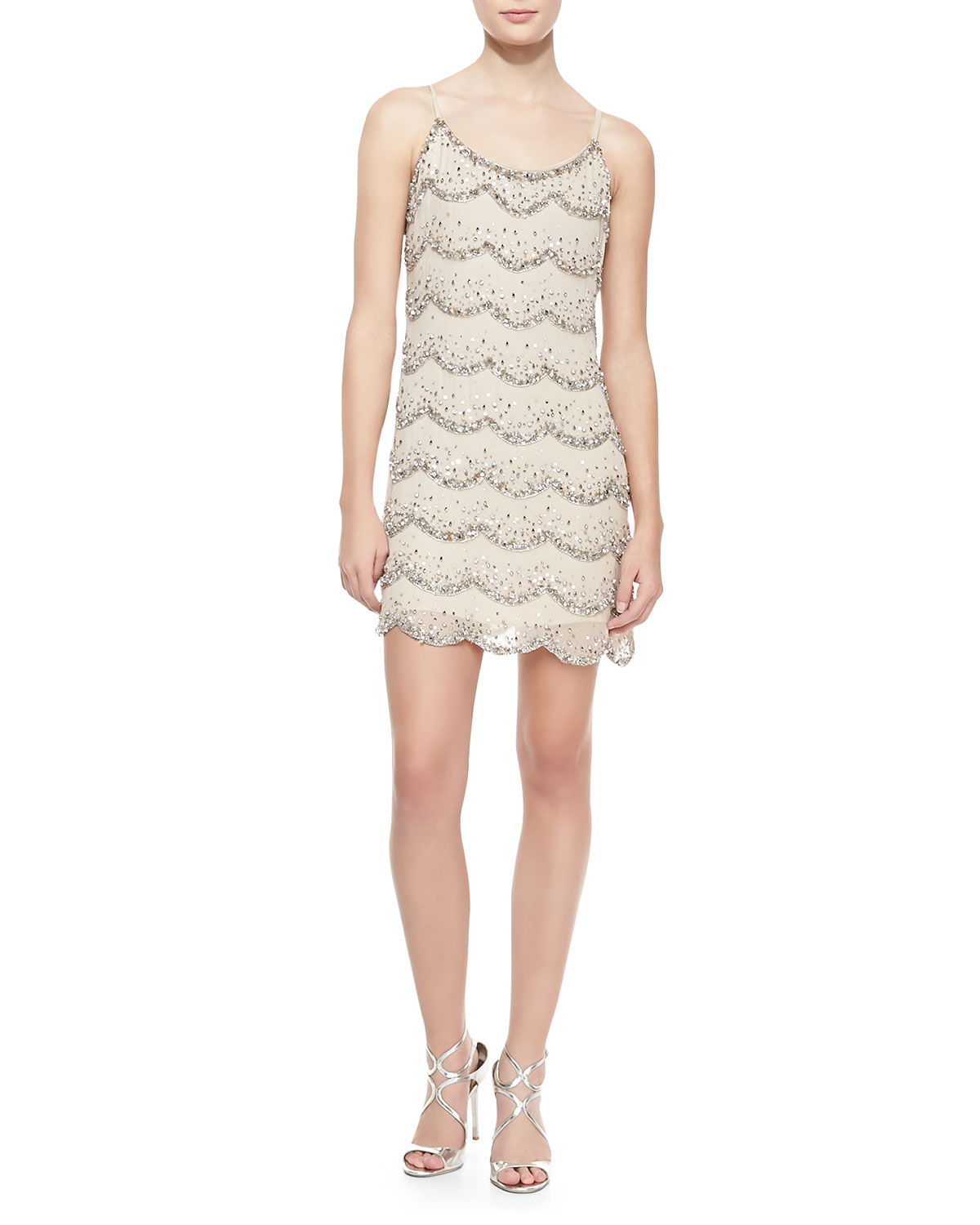 cusp wes scalloped beaded shift dress in beige clear