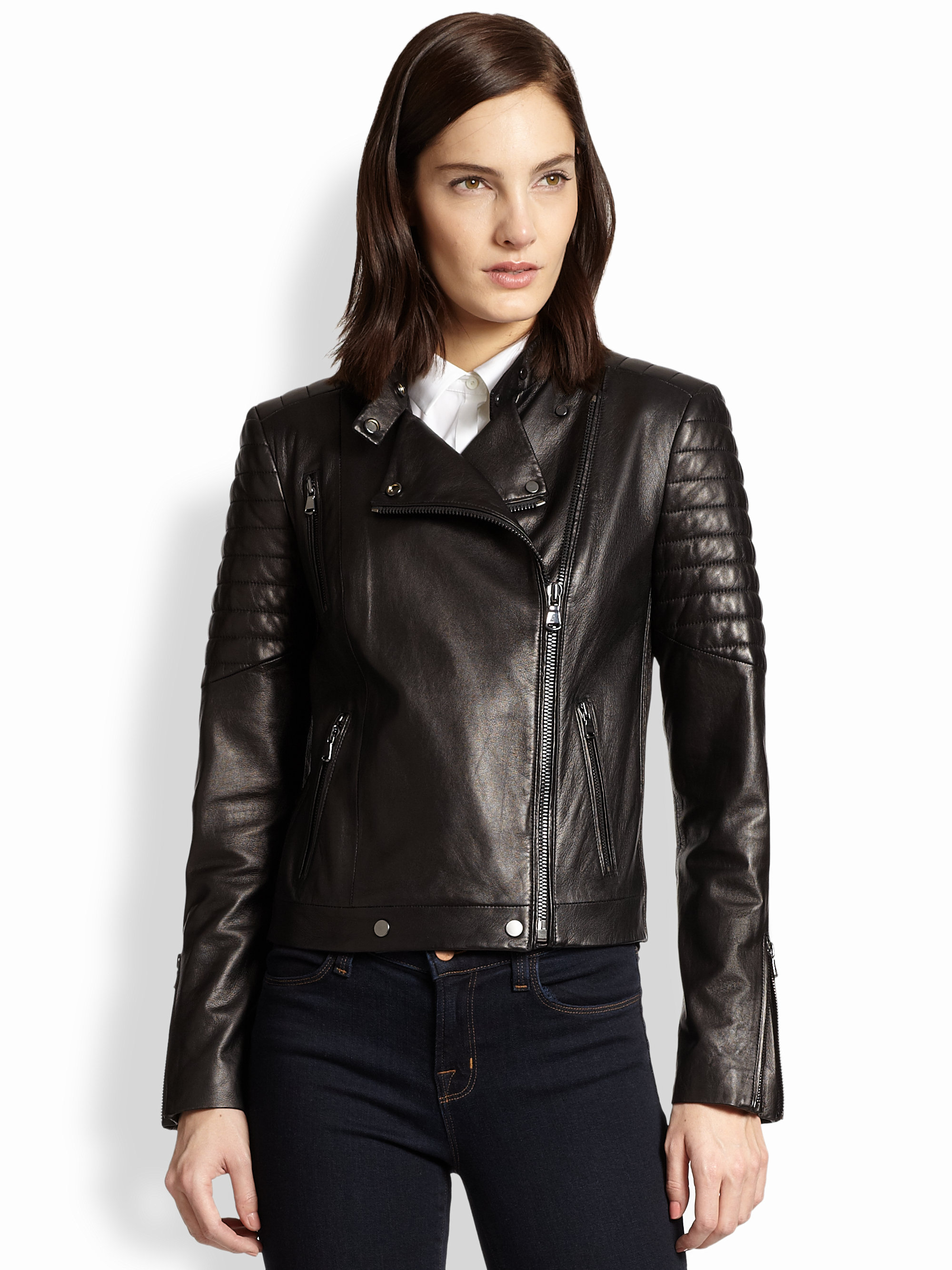 Lyst J Brand Crista Leather Motorcycle Jacket In Black