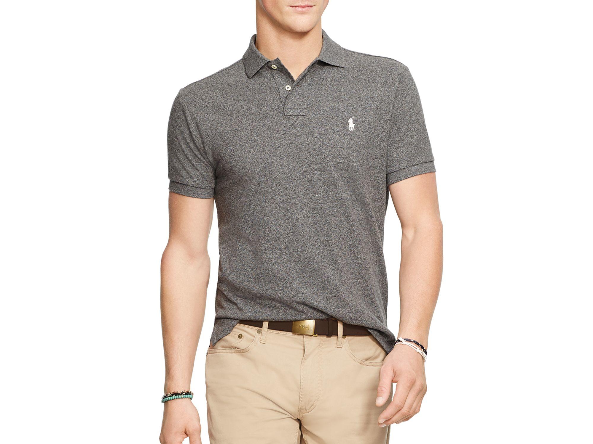 ca117738 Polo Ralph Lauren Slim Fit Mesh Polo Shirt in Gray for Men - Lyst