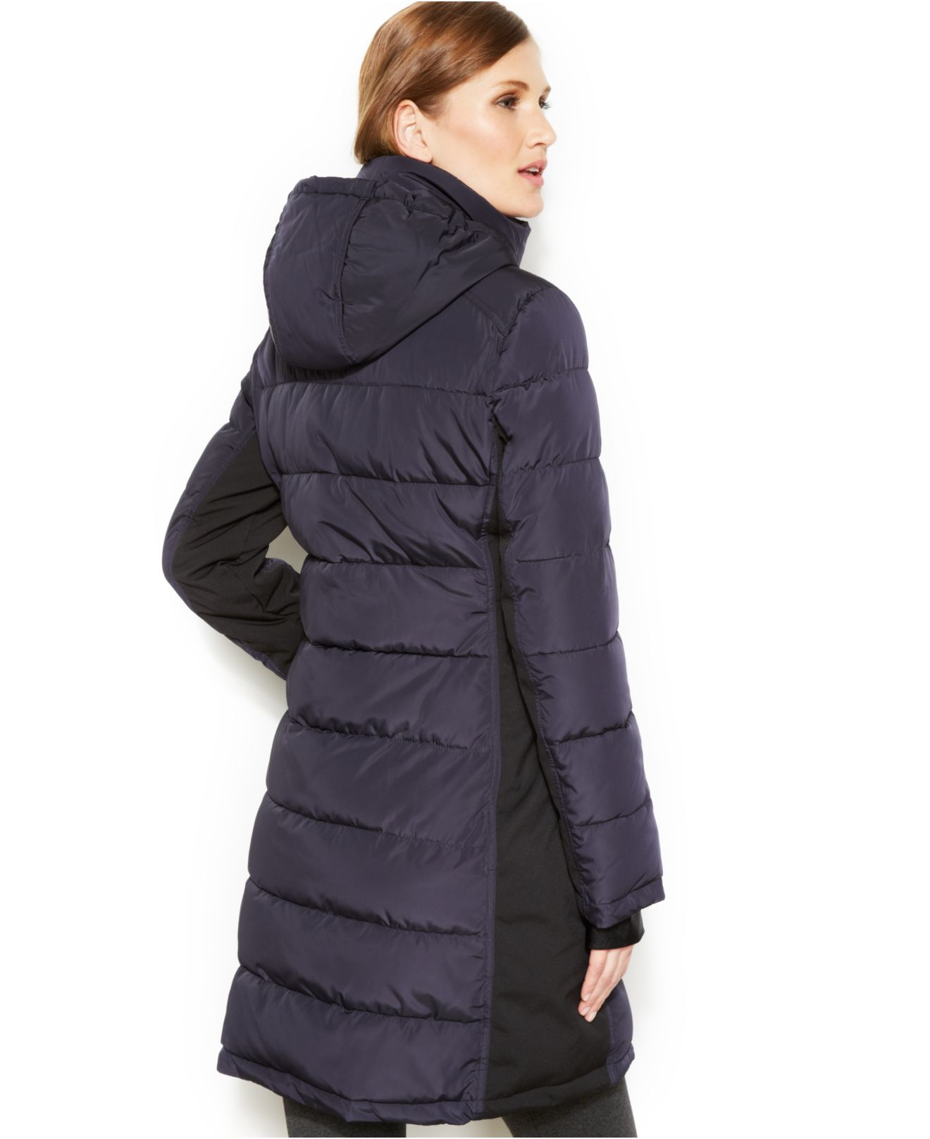 Lyst Calvin Klein Hooded Quilted Colorblock Puffer Coat