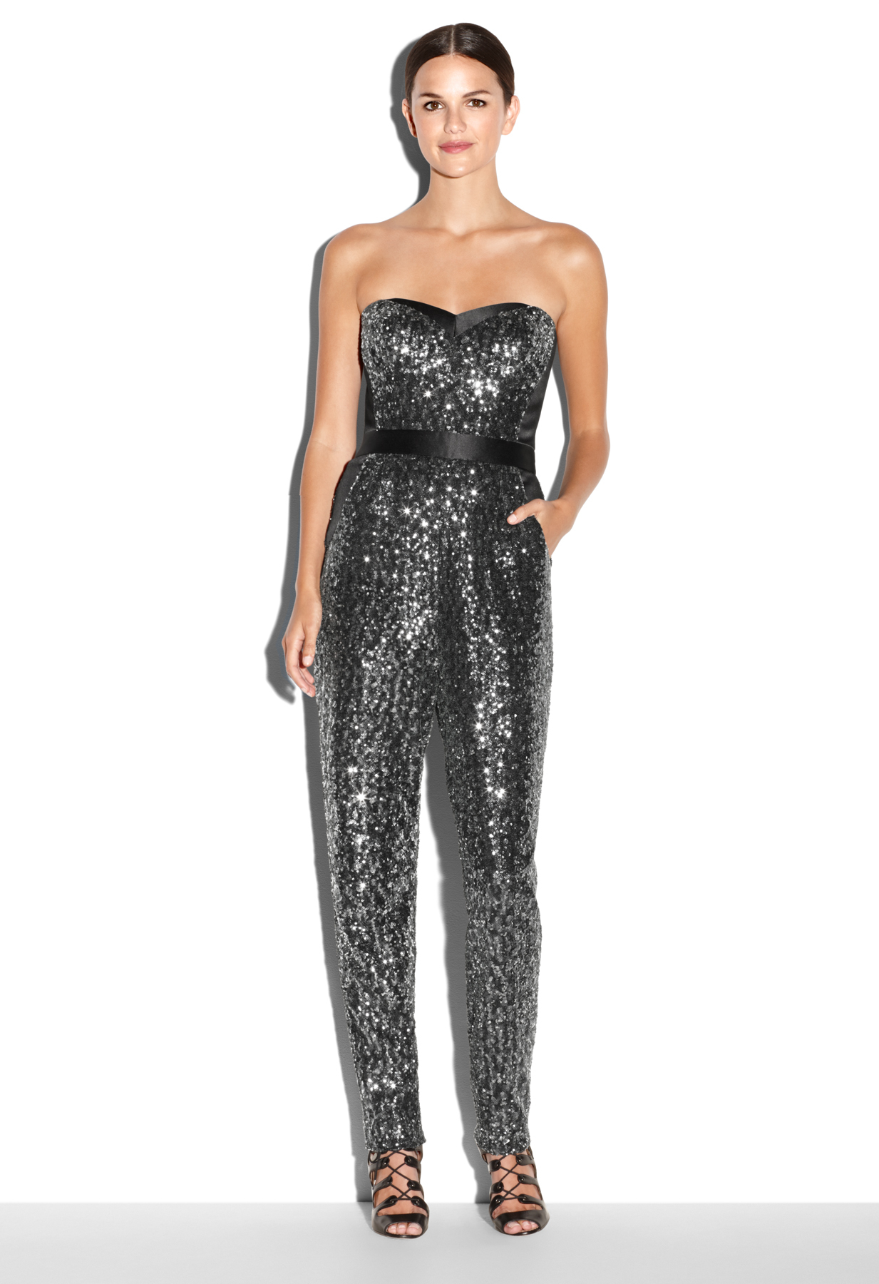 Milly Stretch Sequins Bustier Jumpsuit in Silver (BLACK ...
