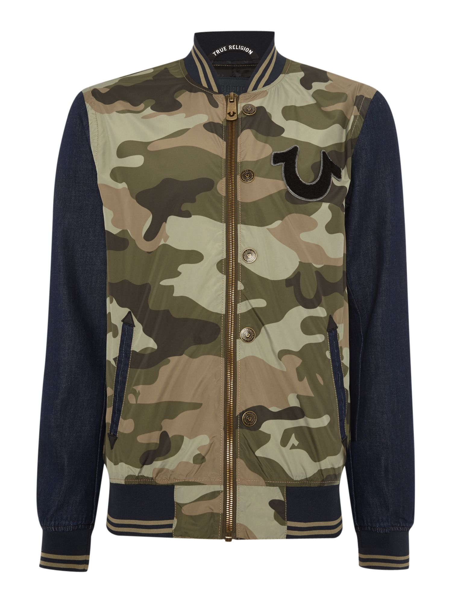 true religion regular fit collegiate camo denim jacket in multicolor for men lyst. Black Bedroom Furniture Sets. Home Design Ideas