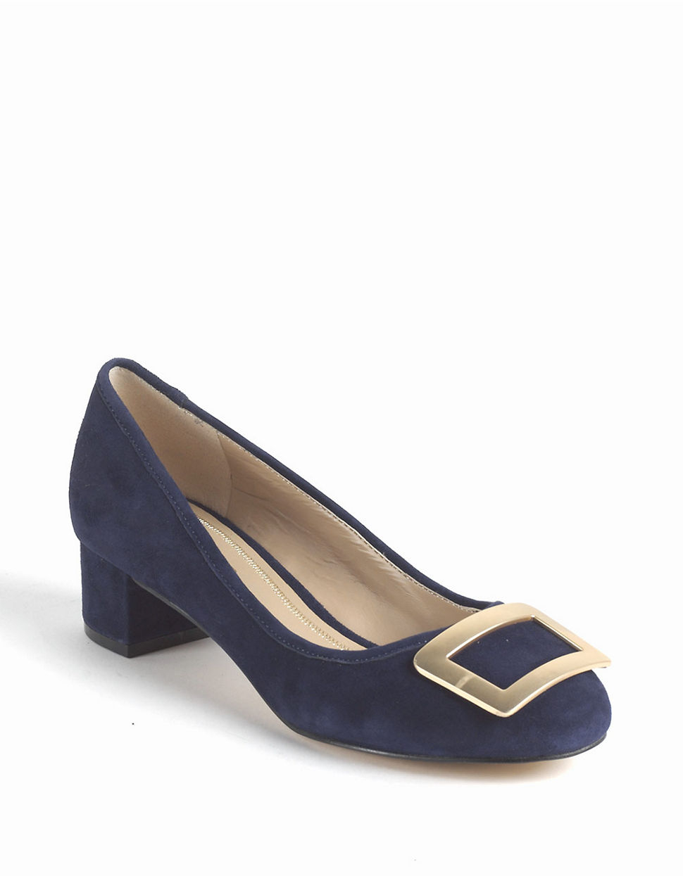Lyst Lord Amp Taylor Felonise Suede Chunky Heel Pumps In Blue