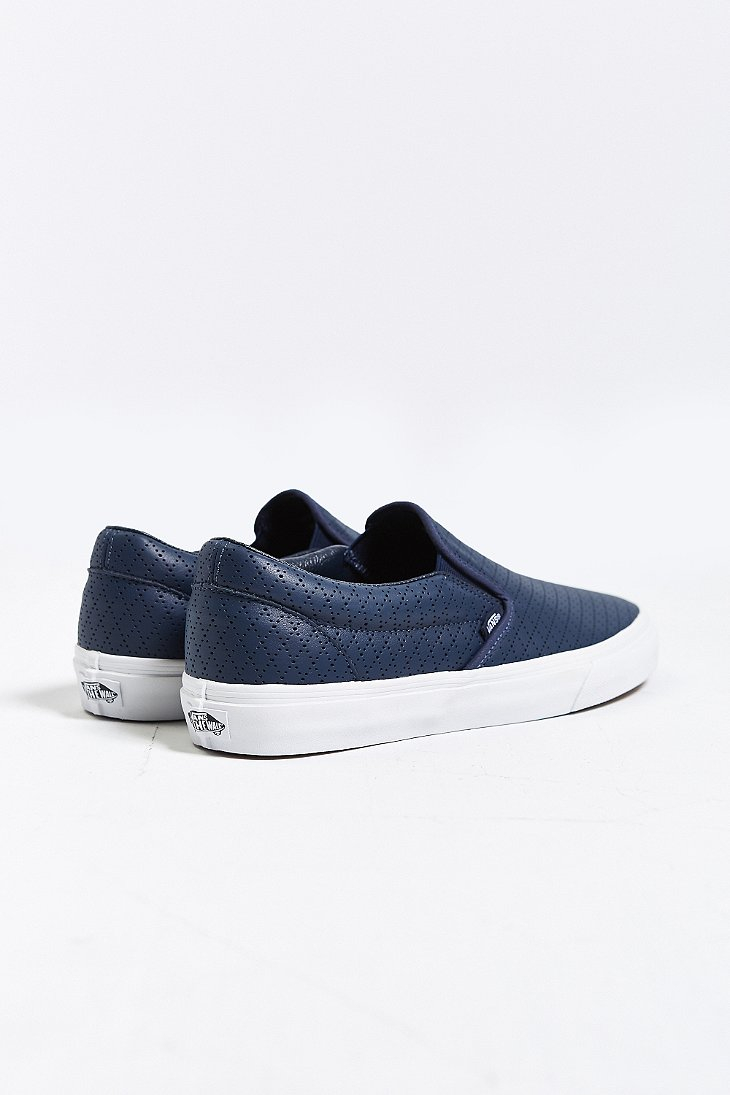 vans classic leather slip-on mens sneaker