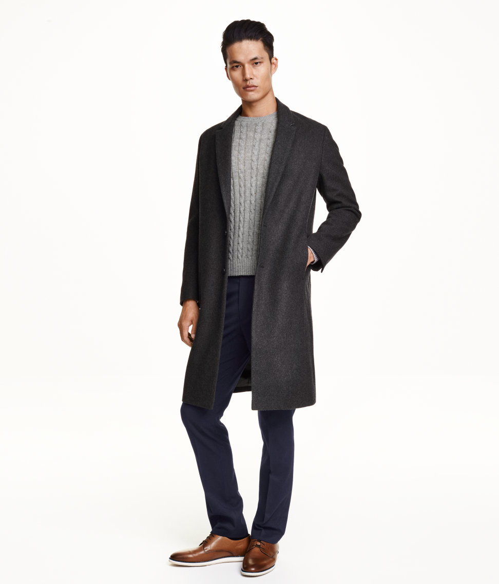 H&m Coat In A Wool Blend in Gray for Men | Lyst