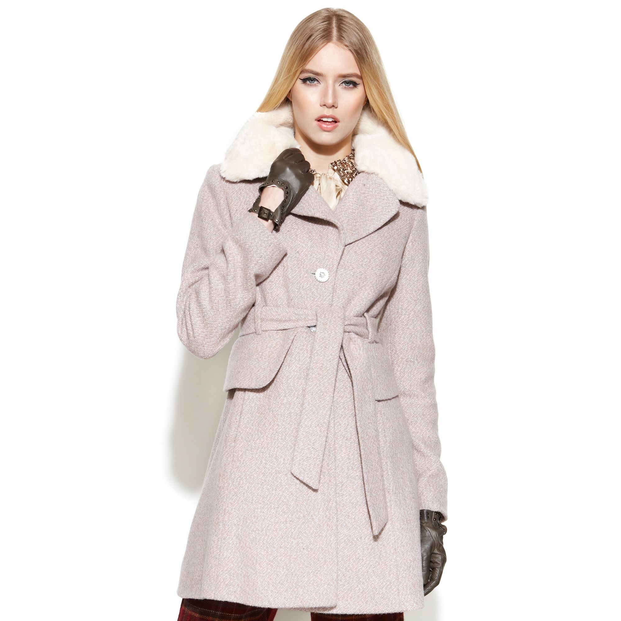 b5bea03eacbb Jessica Simpson Tweed Belted Faux-fur-collar Peplum Coat in Pink - Lyst