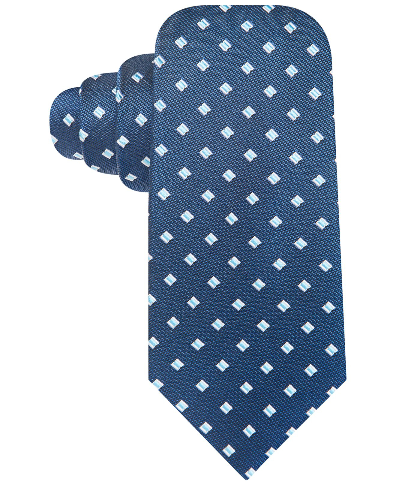 vince camuto silk circle neat tie in blue for lyst