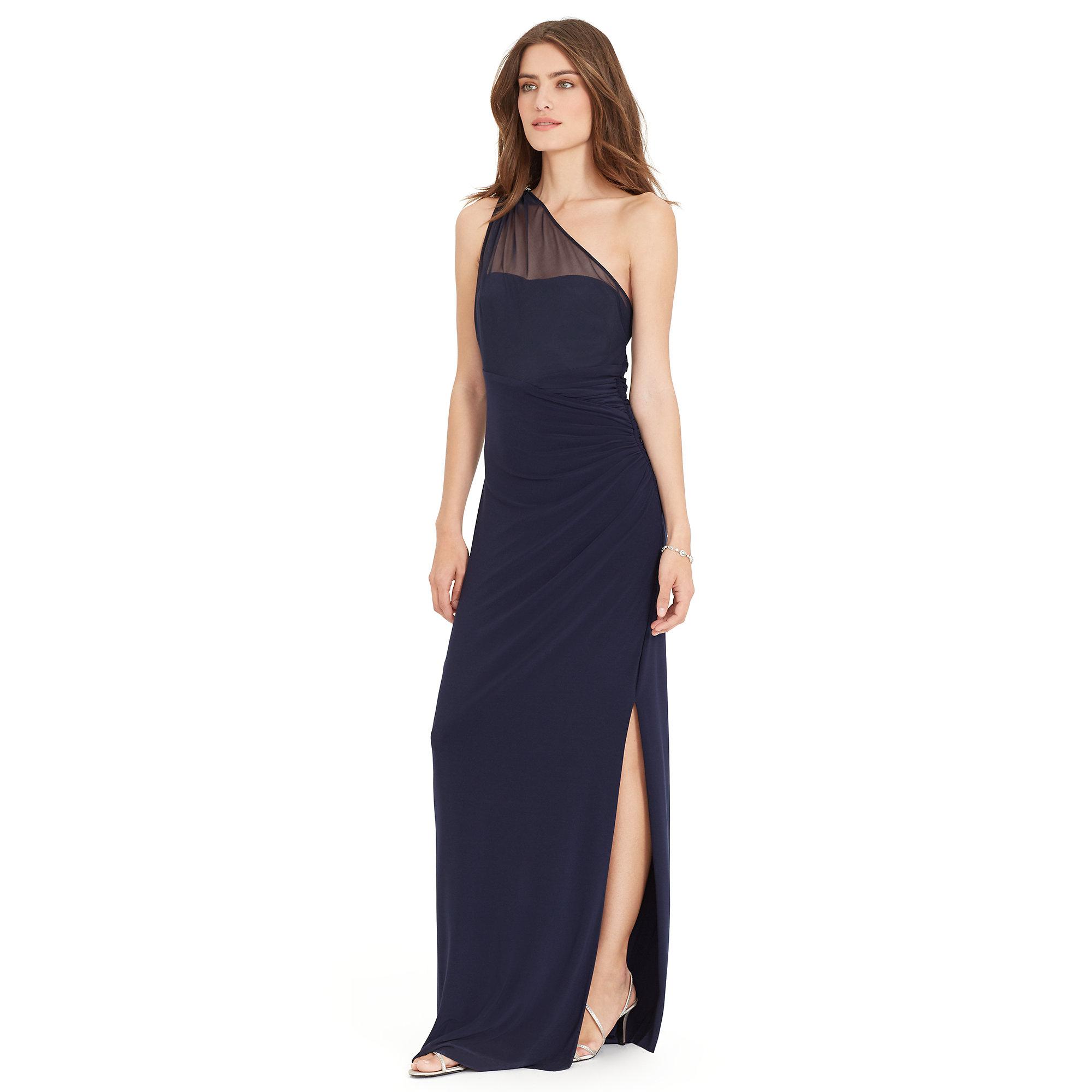 Lyst - Ralph Lauren One-shoulder Jersey Gown in Blue