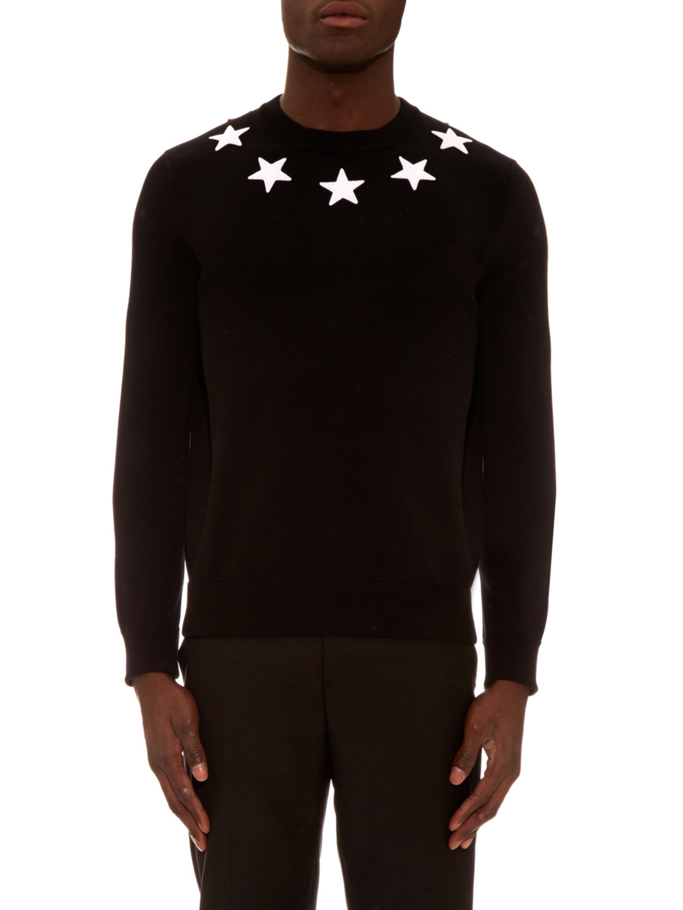 Lyst - Givenchy Cuban-fit Star Appliqué Sweater in Black for Men 438cdbcc6