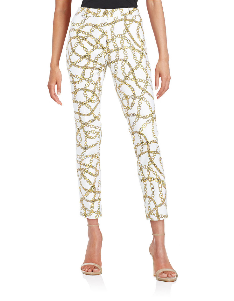 Lyst Michael Michael Kors Chain Link Ankle Pants In White