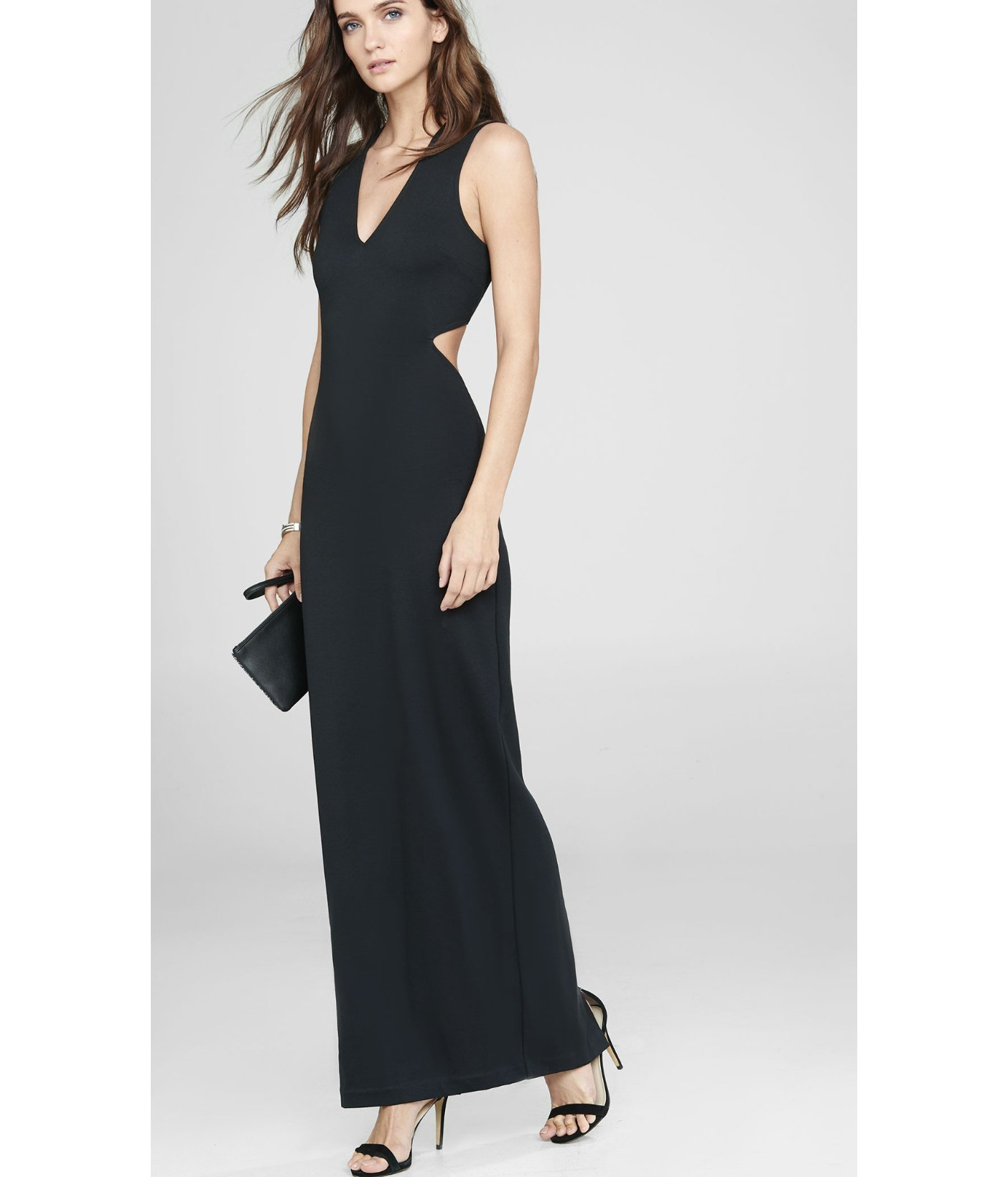 Lyst Express Black Deep V Neck Cut Out Sleeveless Maxi Dress In Black