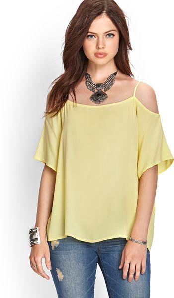 Forever 21 Offtheshoulder Woven Top in Yellow