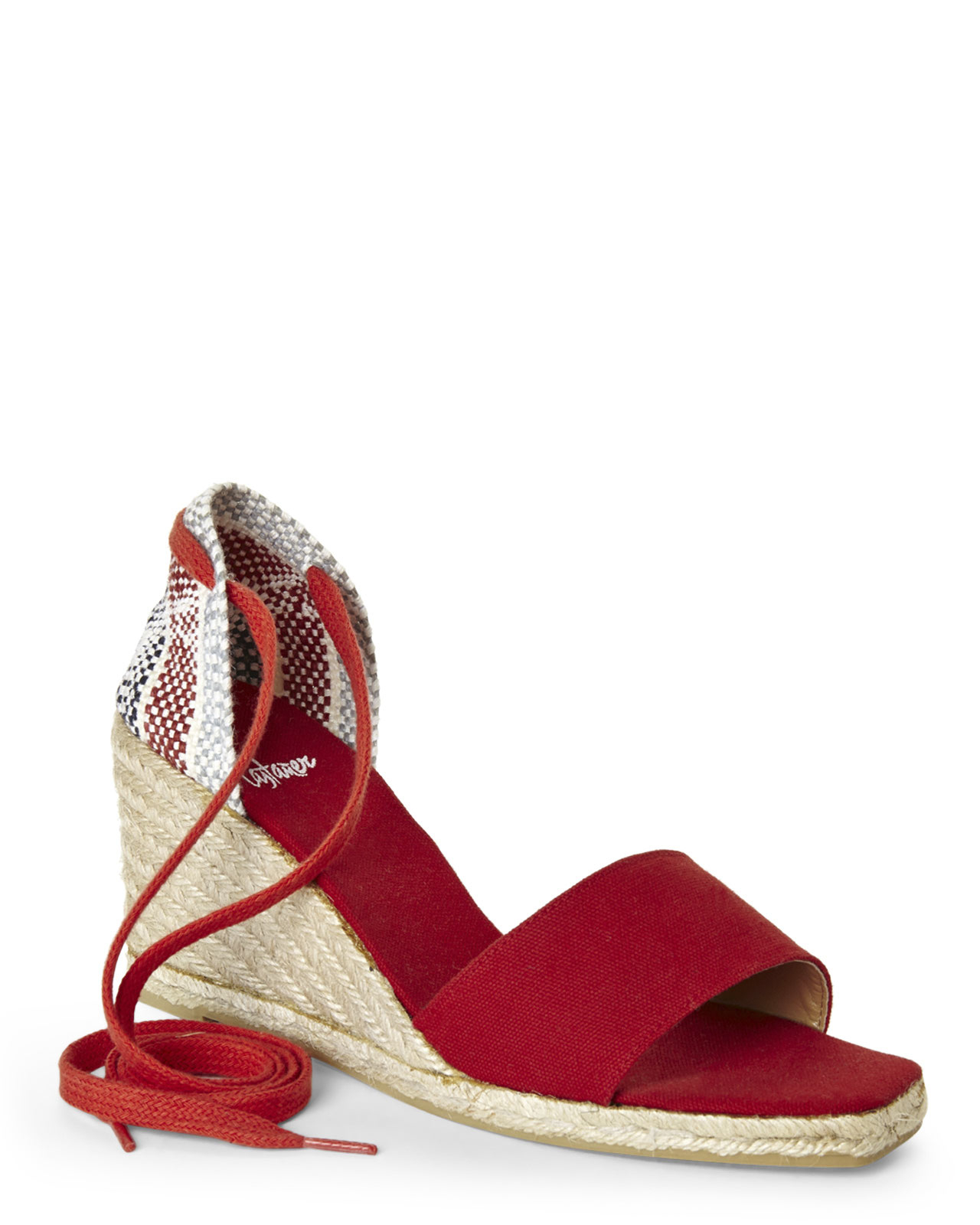 Lyst Century 21 Casta 227 Er Red Lace Up Wedge Espadrilles
