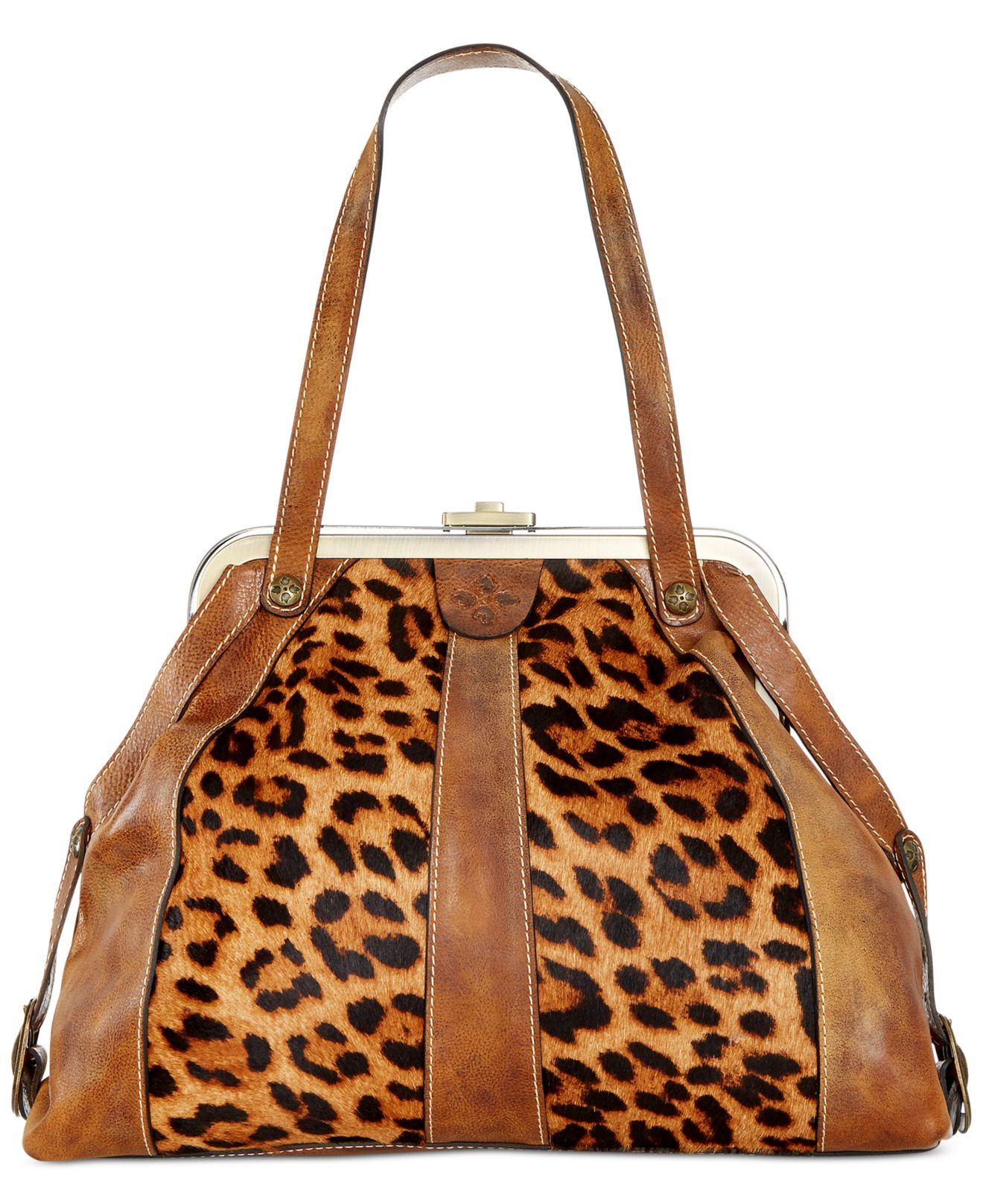 Lyst Patricia Nash Leopard Genova Frame Satchel In Brown