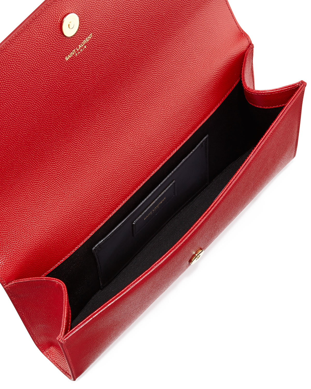 b125048bd25 Saint Laurent Cassandre Ysl-Flap Leather Clutch Bag in Red - Lyst