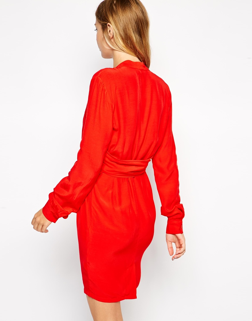 2e75b0a0e0d Lyst - ASOS Wrap Dress With Tulip Skirt With Long Sleeves in Red