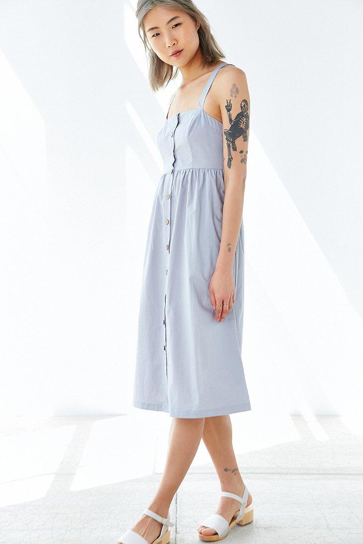 e4fade5b4d6e Lyst - Cooperative Button-front Poplin Midi Dress in Blue