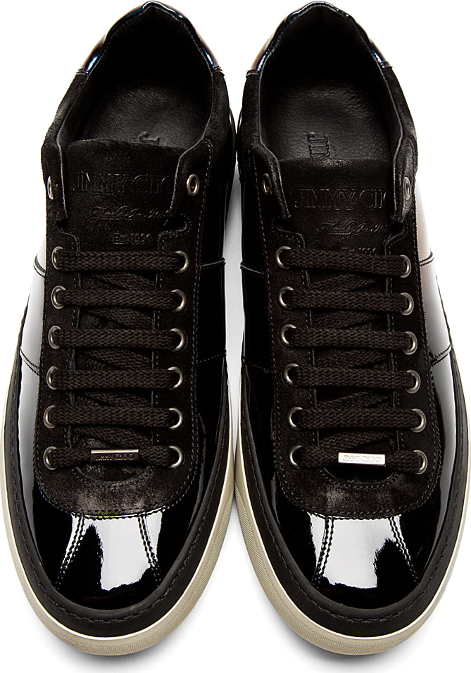 Lyst Jimmy Choo Black Iridescent Patent Leather Portman Tennis