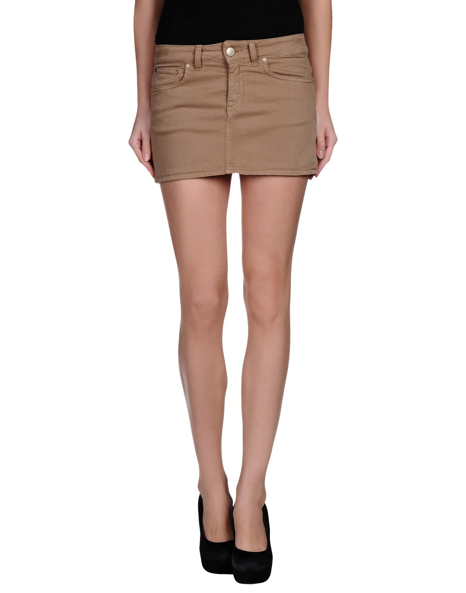 dondup khaki denim skirt lyst