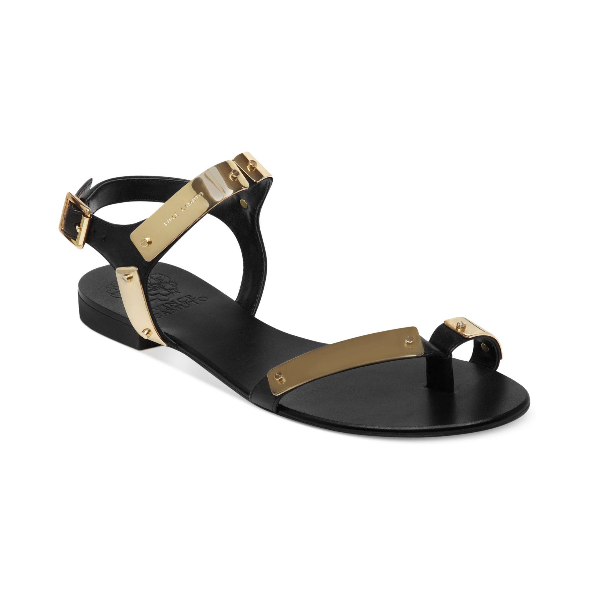 Vince Camuto Joslyn Flat Sandals In Gold Black Lyst