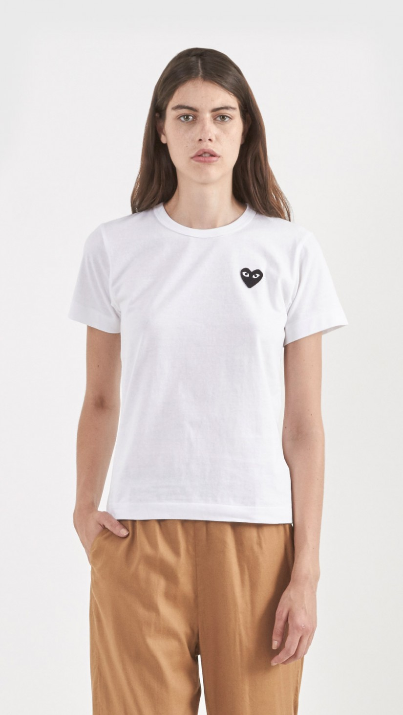 lyst play comme des gar ons emblem t shirt in white. Black Bedroom Furniture Sets. Home Design Ideas