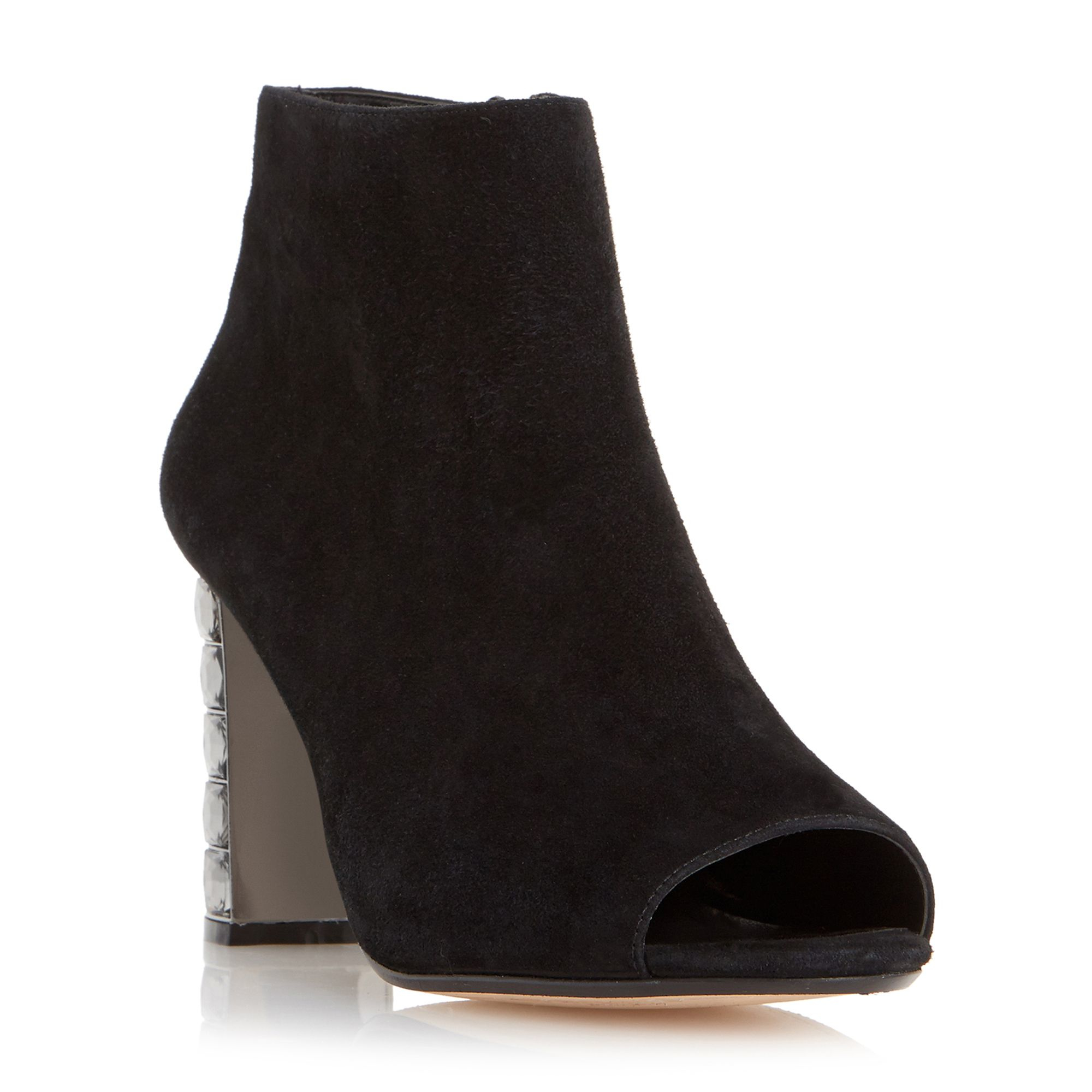 dune daniela block heel peep toe shoeboots in black lyst
