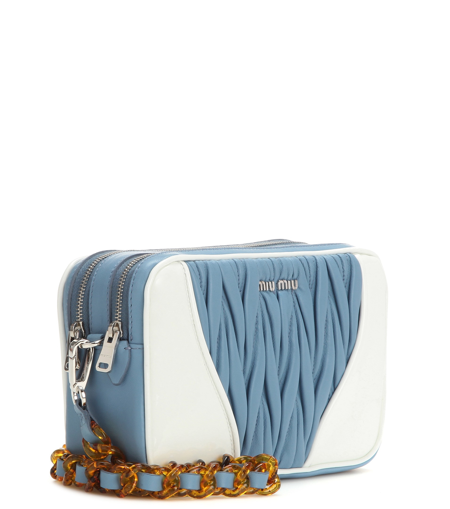 d5471f07b8b Lyst - Miu Miu Matelassé Leather Shoulder Bag in Blue